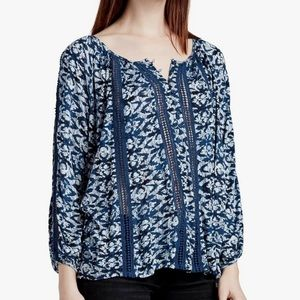 Lucky Brand Printed Knit And Lace Oversized Top L